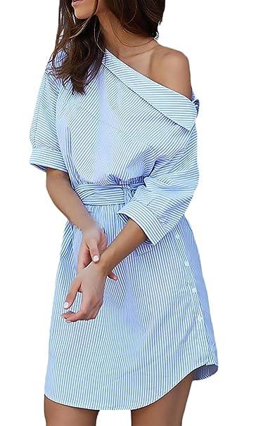 Vestiti Donna Eleganti Estivi Corti Abito Obliquo Spalla A Strisce Camicia  Vestito Manica 3 4 Abiti da Giorno Larghi Partito Irregolare Tunica Camicie  ... 8ed1a4920e0