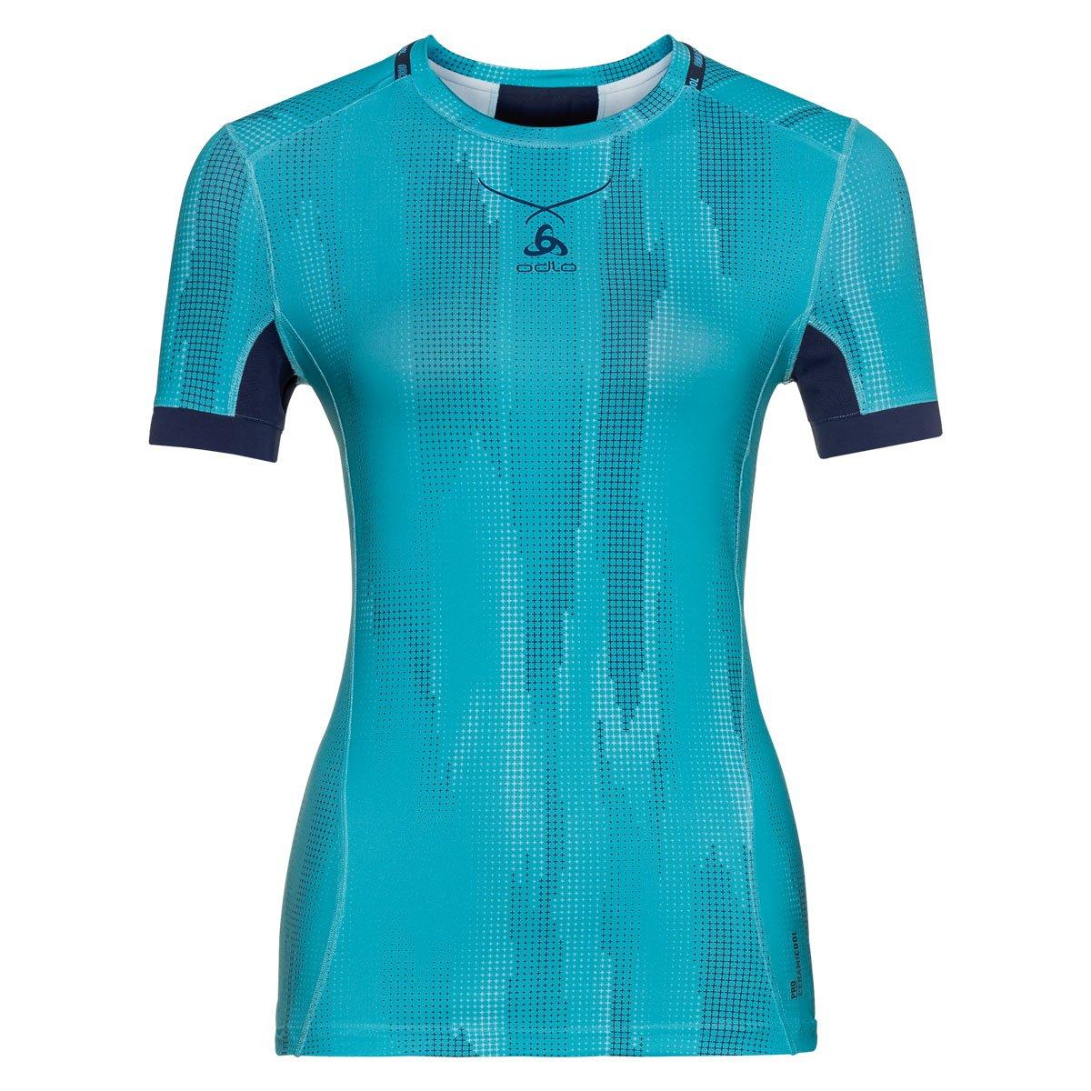 ODLO Women's Shirt S/S Crew Neck Ceramicool Pro Print Underwear 160121