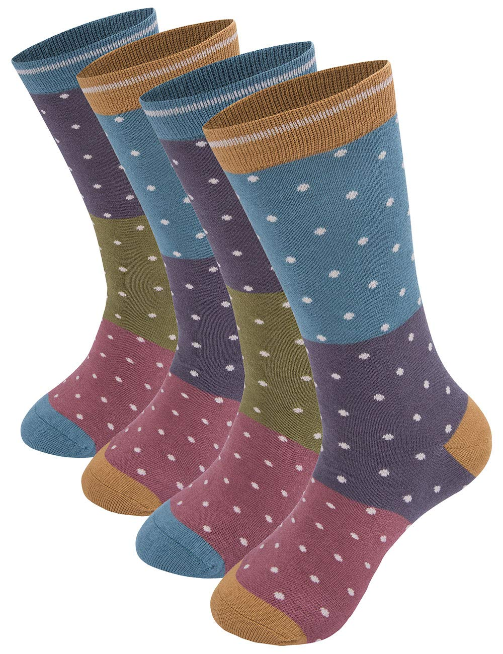 JING Women's Bamboo Fiber Crew Socks Flower Patterned Design with Gift Box (4 Pairs) (Dots)