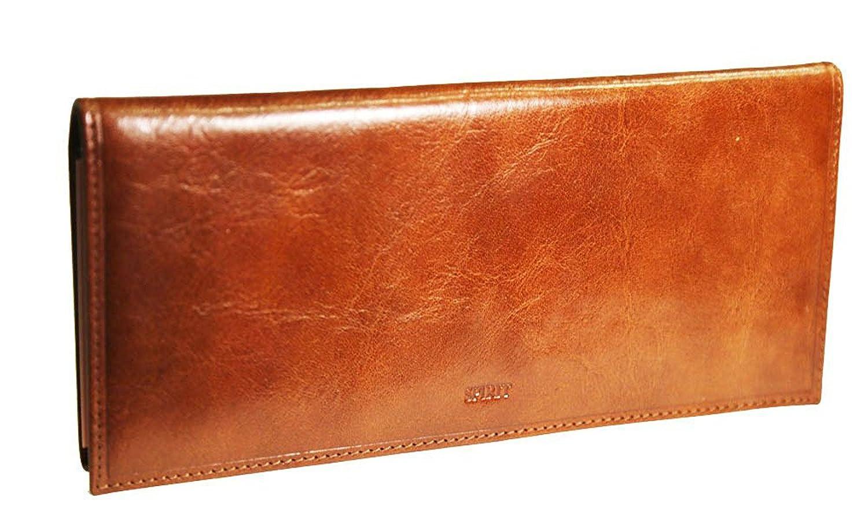 VANITY - Porte Chéquier Long pour Chéquier Talon Gauche Cuir-Porte Monnaie-Porte Cartes-Couleur Marron-23, 5cmx10, 8cm