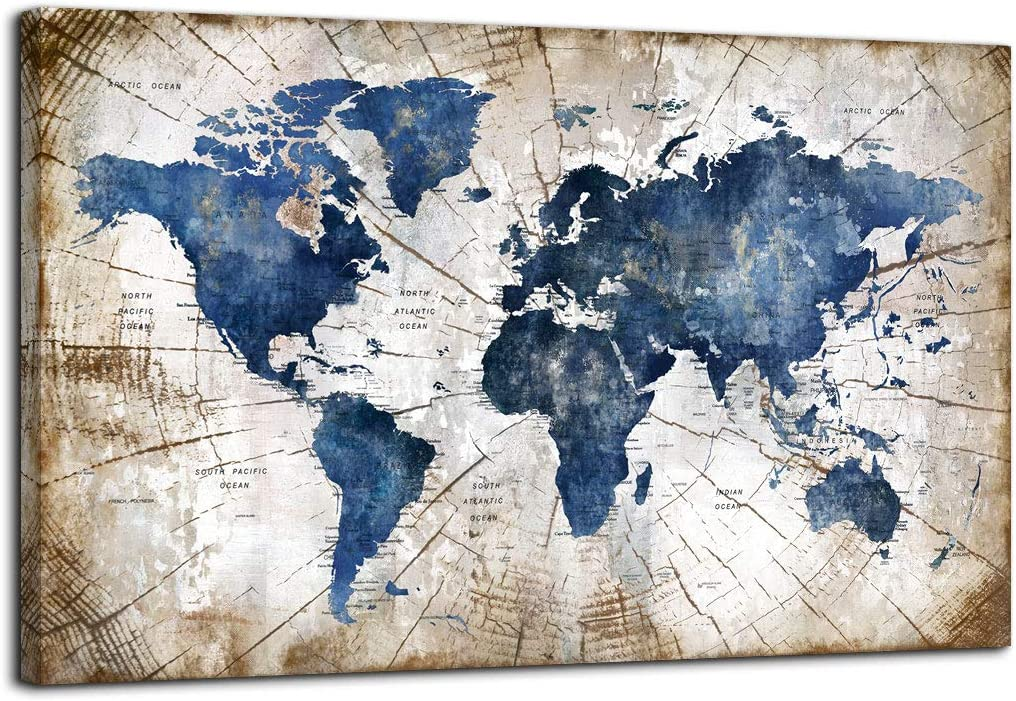 Large World Map Canvas Wall Art Abstract Navy Watercolor World Map With Vintage Driftwood Background Modern Framed Wall Decor for Living Room Bedroom Big Wall Decoration for Home Office Decor 36x48