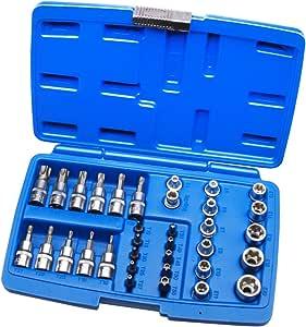Estuche de llaves de vaso E-TORX 34, estrella int-ext para llave de carraca 3/8