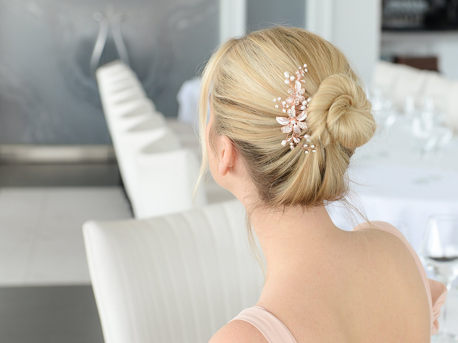 Mariell Rose Gold Bridal Comb Freshwater Pearl, Hand-Painted Enamel Leaves Austrian Crystals by Mariell (Image #5)