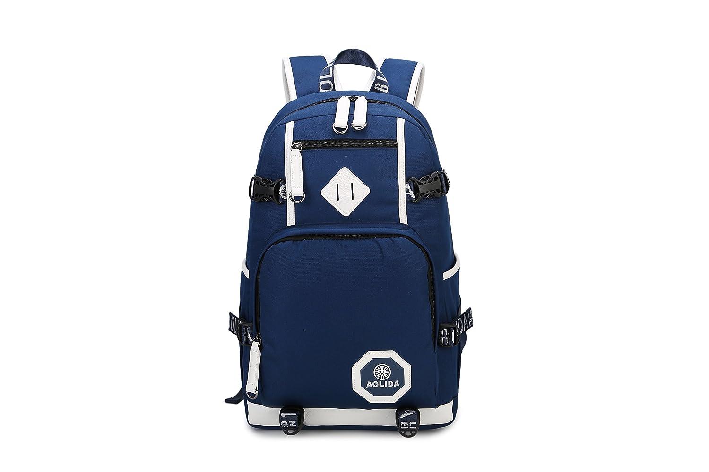 gudelaaメンズオックスフォードバックパック高校生カレッジバッグレトロ旅行バックパック  ブルー B07DRHLMFG