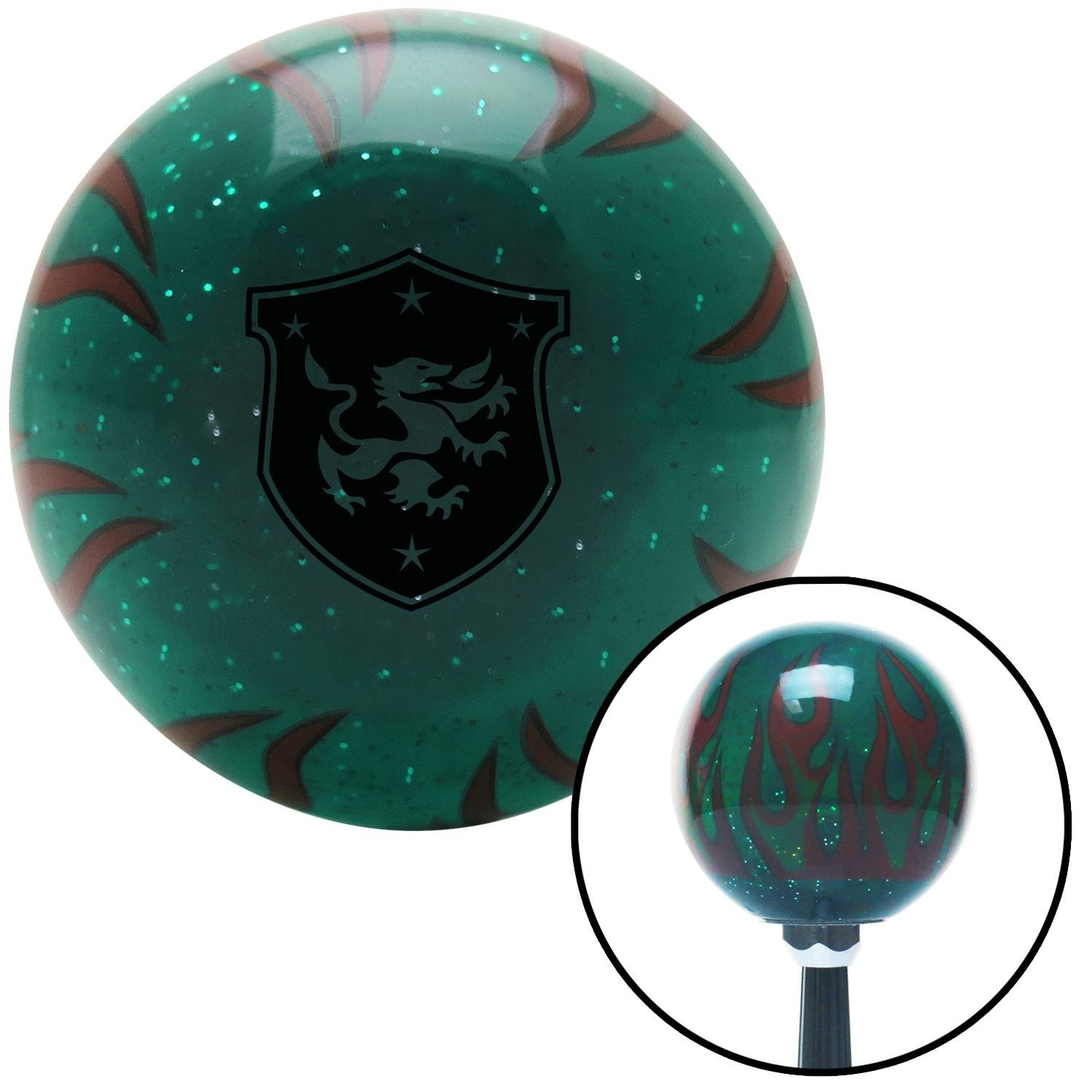 American Shifter 262000 Green Flame Metal Flake Shift Knob with M16 x 1.5 Insert Black Dragon Crest