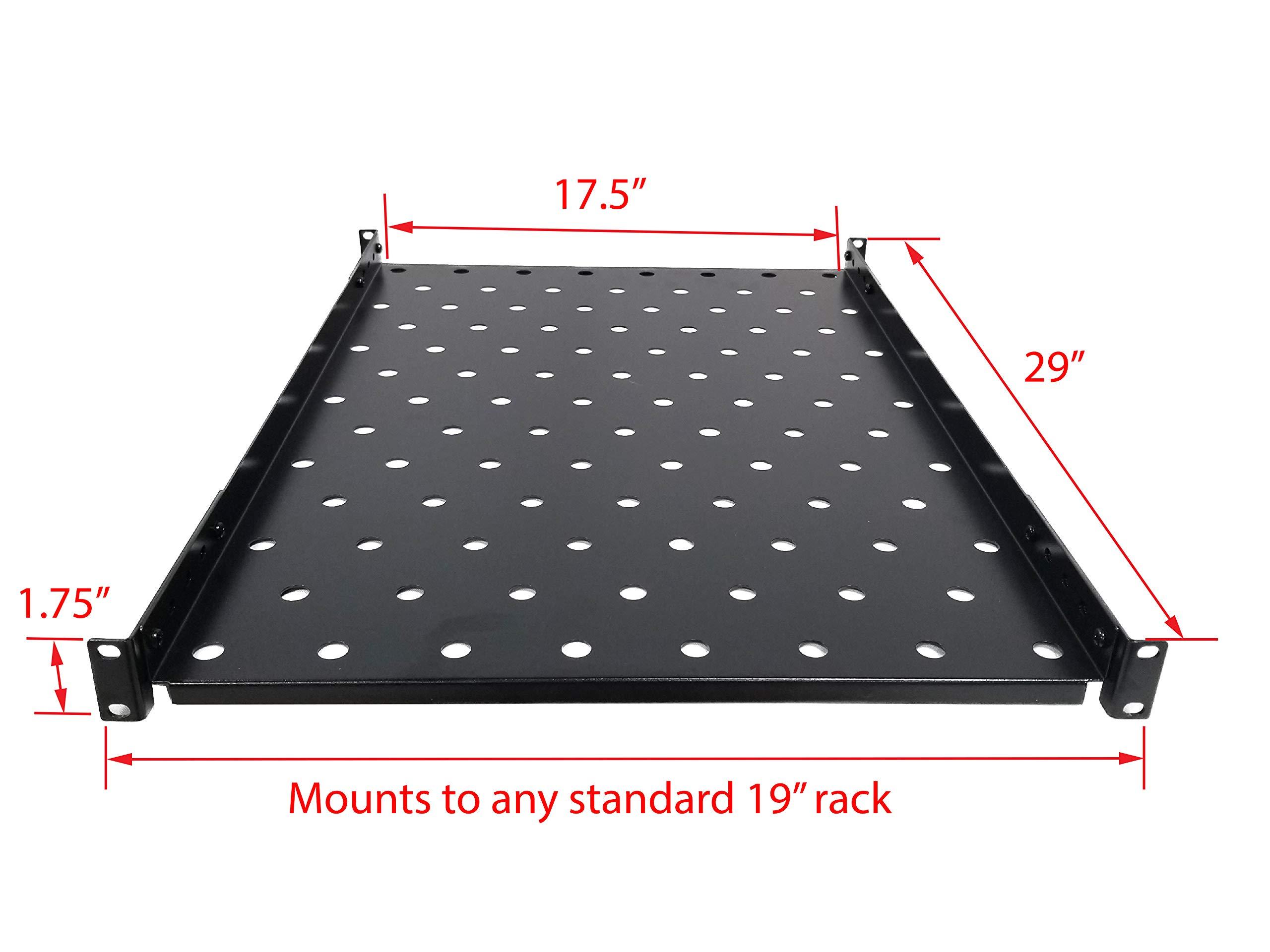 "Fixed Rack Vented Server Shelf 1U 19/"" 4 post Rack Mount Adjustable from 17-33/"""