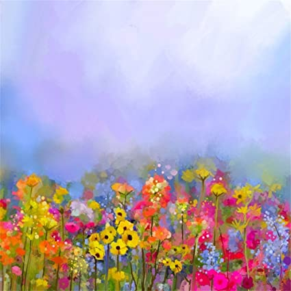 Amazon lfeey 5x5ft polyester colorful abstract wild flowers lfeey 5x5ft polyester colorful abstract wild flowers photo backdrop oil painting spring flower field meadow background mightylinksfo