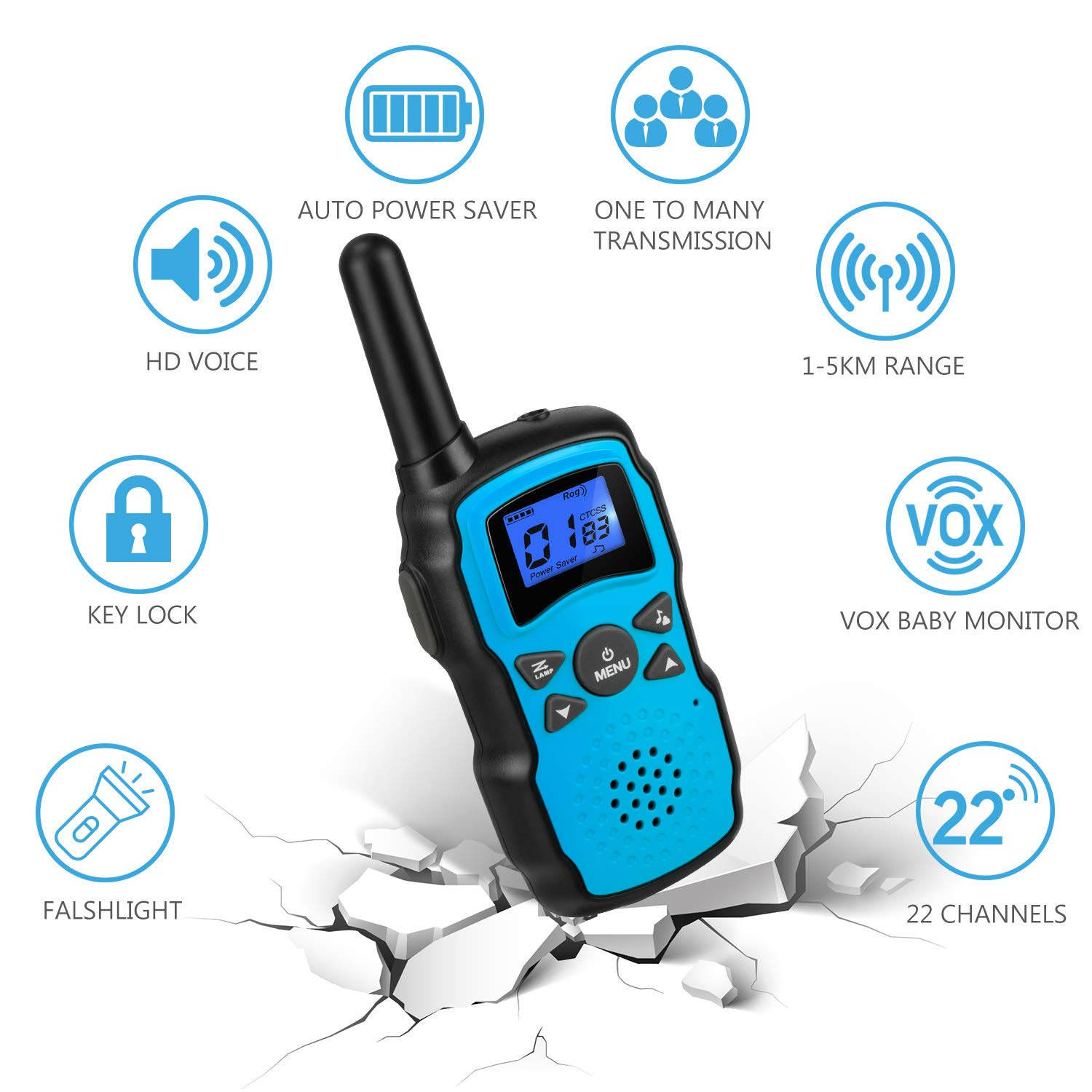 Wishouse 2 Rechargeable Walkie Talkies for Kids with Charger Battery, Two Way Radio Family Talkabout for Adult Cruise Ship Long Range, Outdoor Camping Hiking Fun Toys Birthday Gift for Girls Boys Blue by Wishouse (Image #3)