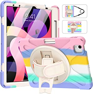MoKo Case Fit New iPad Air 4th Generation 2020 10.9-inch, Shockproof Heavy Duty Protective Case with 360 Degree Rotate Stand, Hand Strap, Shoulder Strap, Pencil Holder, Multicolor B