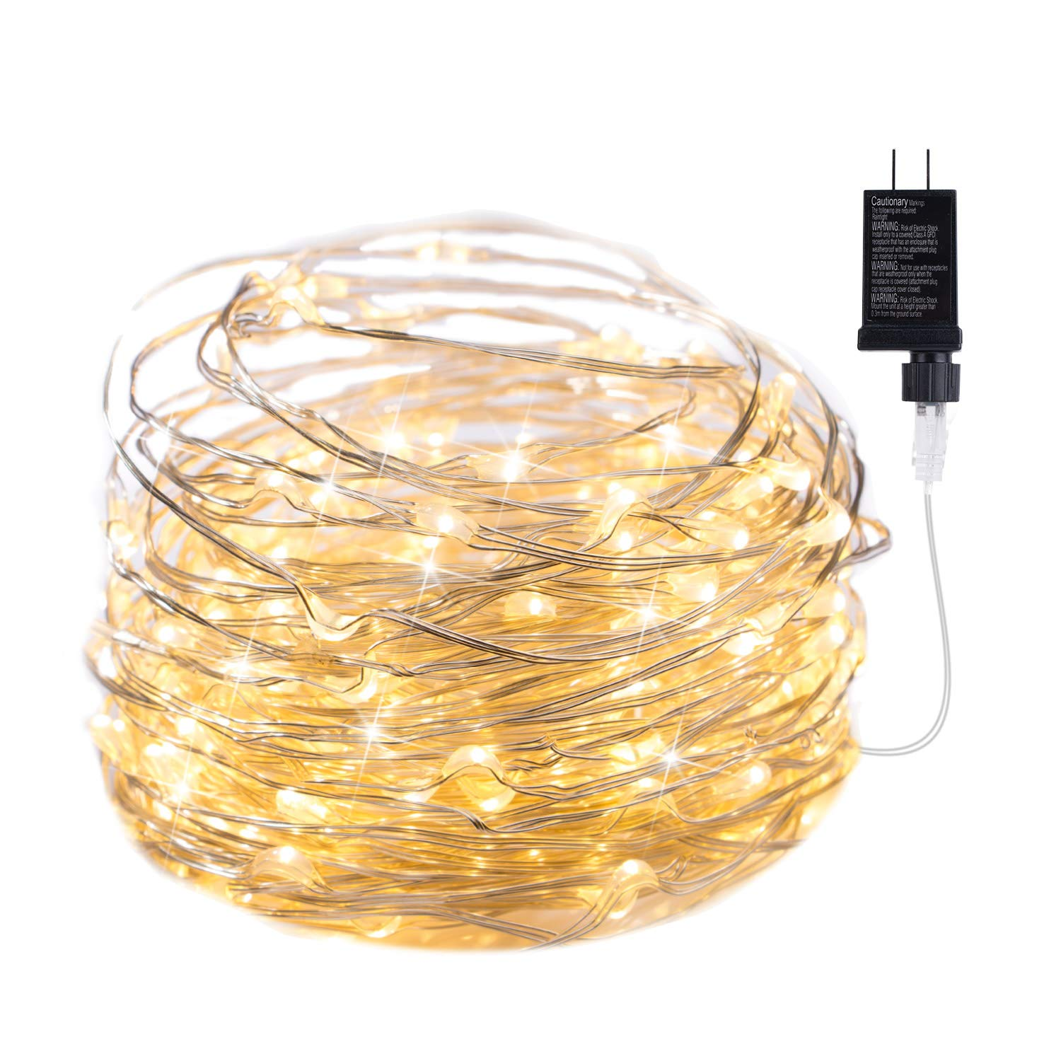 100 LED Fairy Lights 32 Ft Firefly String Lights Waterproof Starry Wiring Lights on