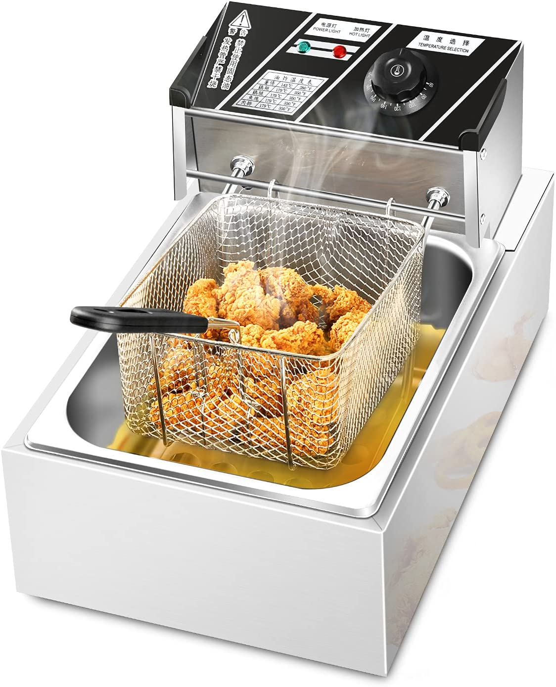 1700W Electrical Deep Fryer 6.3QT/6L Stainless Steel Kitchen Frying Machine for French Fries Onion Rings Turkey Fish and Chips