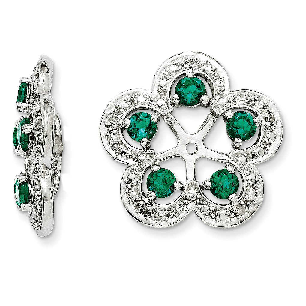 ICE CARATS 925 Sterling Silver Diamond Created Green Emerald Earrings Jacket Birthstone May Fine Jewelry Gift Set For Women Heart