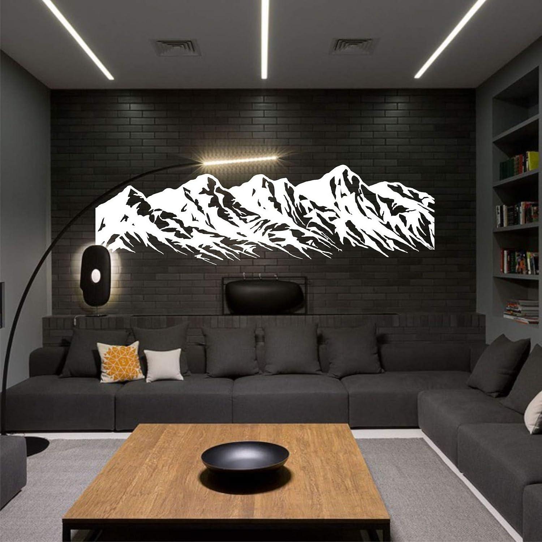 "Metal Wall Art - Metal Mountain Range - 3D Wall Silhouette Metal Wall Decor Office Decoration Living Room Decor Metal Sculpture (White, 47""W x 13""H / 118x32 cm)"