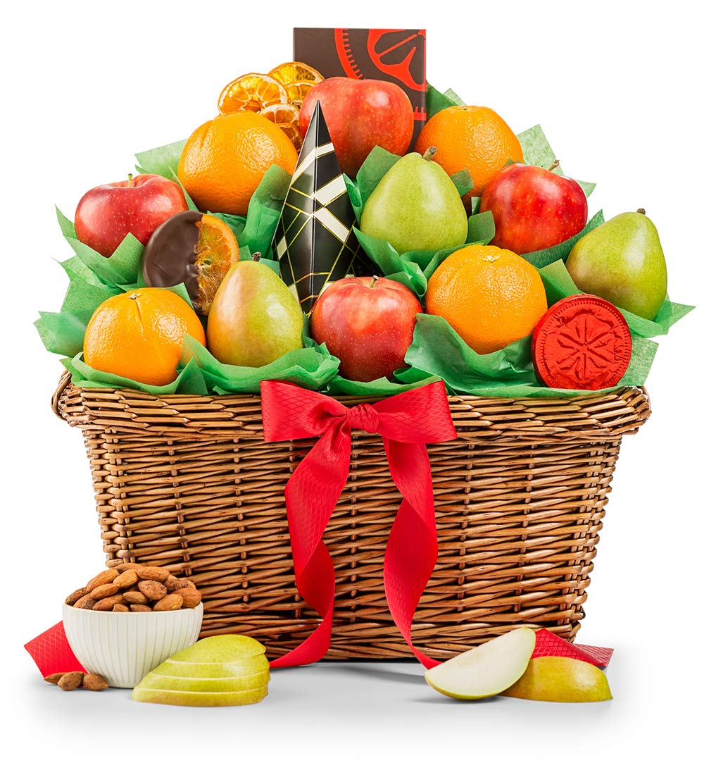 GiftTree Five Star Fruit Gift Basket - Includes Fresh Fruit, Premium Snack Food including Pears, Apples, and Juicy Oranges