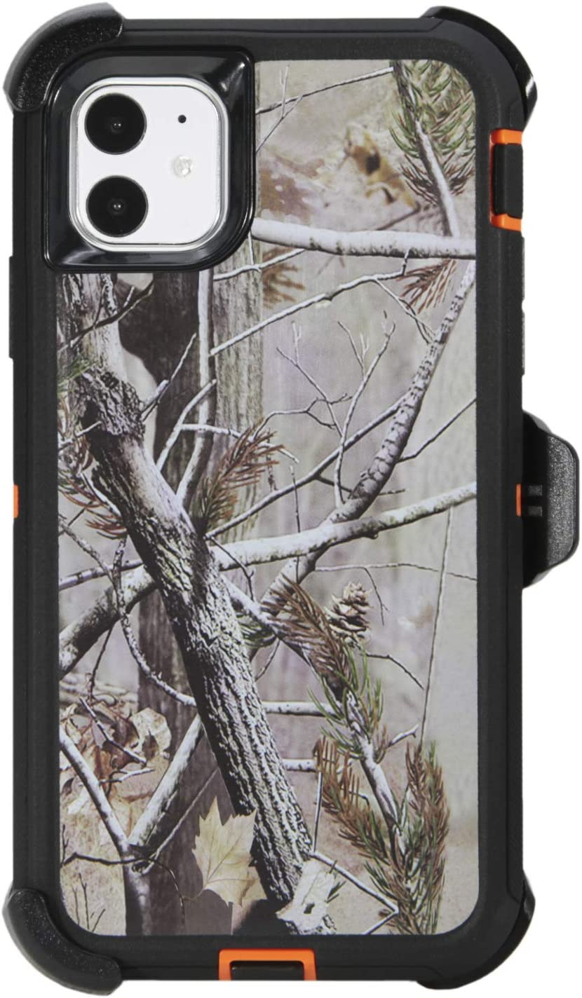 """WallSkiN Turtle Series Belt-Clip Holster Cases for iPhone 11 (6.1""""), 3-Layer Full Body Protective Defender Cover & Certified Shock, Drop, Dust Proof – Camouflage/Orange"""