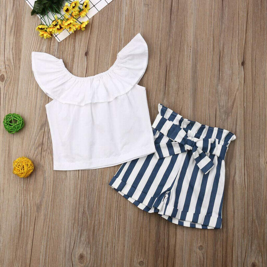 Baby Girl Off-Shoulder Sets, Kids Crop Top Ruffle Shirt Tops +Leopard Striped Shorts Pants Clothes Set (2-3 Years, Blue) by Hopwin Baby girls Suits (Image #6)