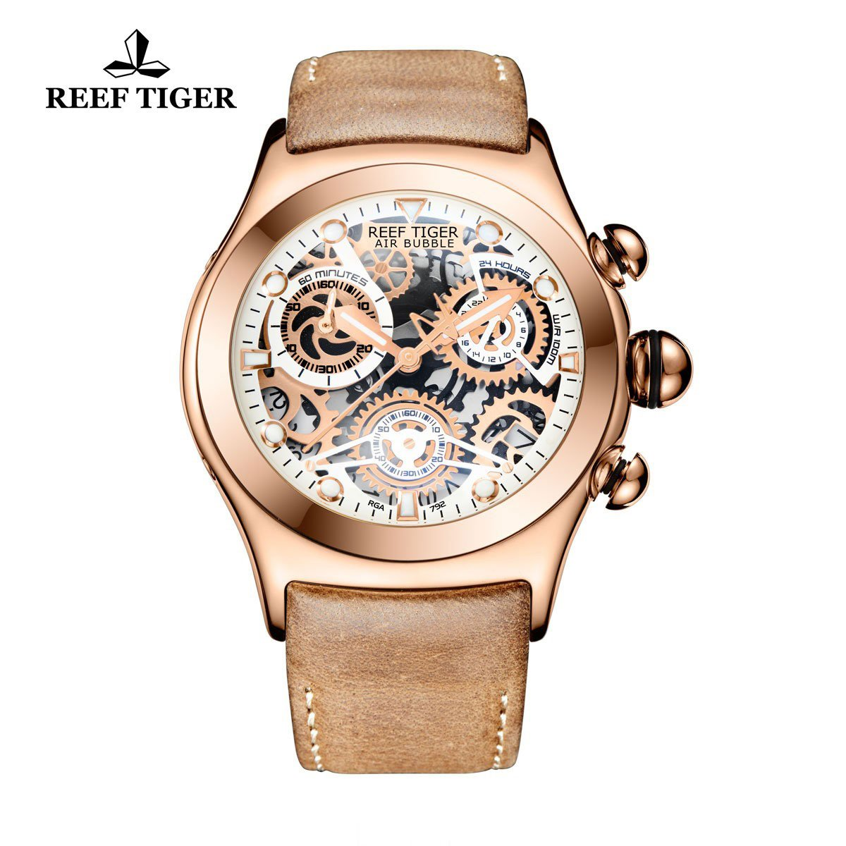 Reef Tiger Chronograph Sport Watch with Date Rose Gold White Skeleton Dial Luminous Watches RGA792
