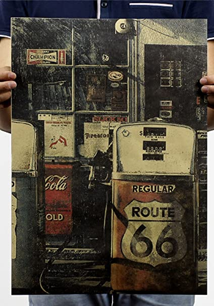 Fangeplus(TM) American Route 66 Gas Station Poster Antique Vintage Old  Style Decorative Poster Print Wall Decor Decals 20''x13 9''