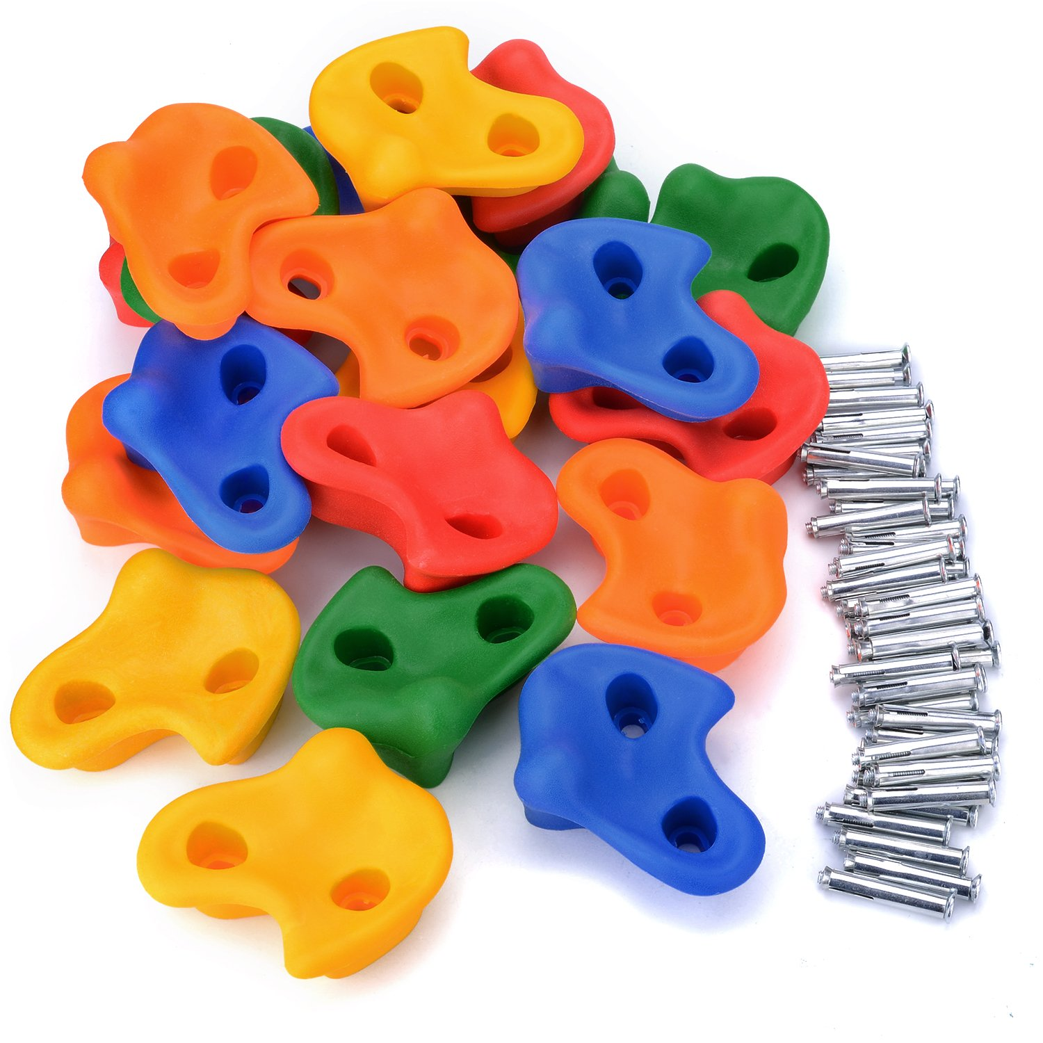 AGPTEK 20 Textured Climbing Holds for Kids Grips,Rock Wall Indoor/Outdoor Playground Set, Multi Color Assorted with Hardware Accessories (20x Climbing Holds &40x T-Nuts)