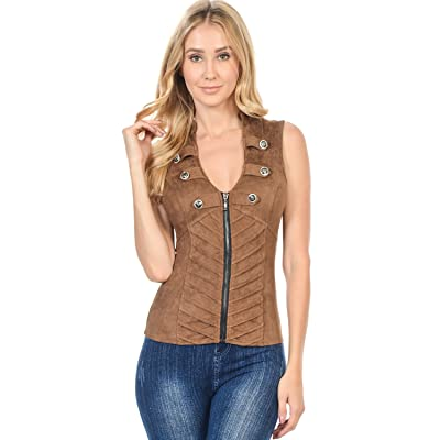 Sexy Suede Spandex Military Look Club Wear Rave Vest Jacket Top (L3615) at Women's Clothing store