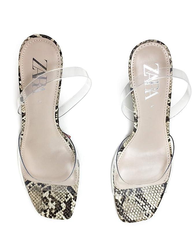1ba9c5096d4 Amazon.com  Zara Women Vinyl animal print heeled sandals 2336 001  Clothing