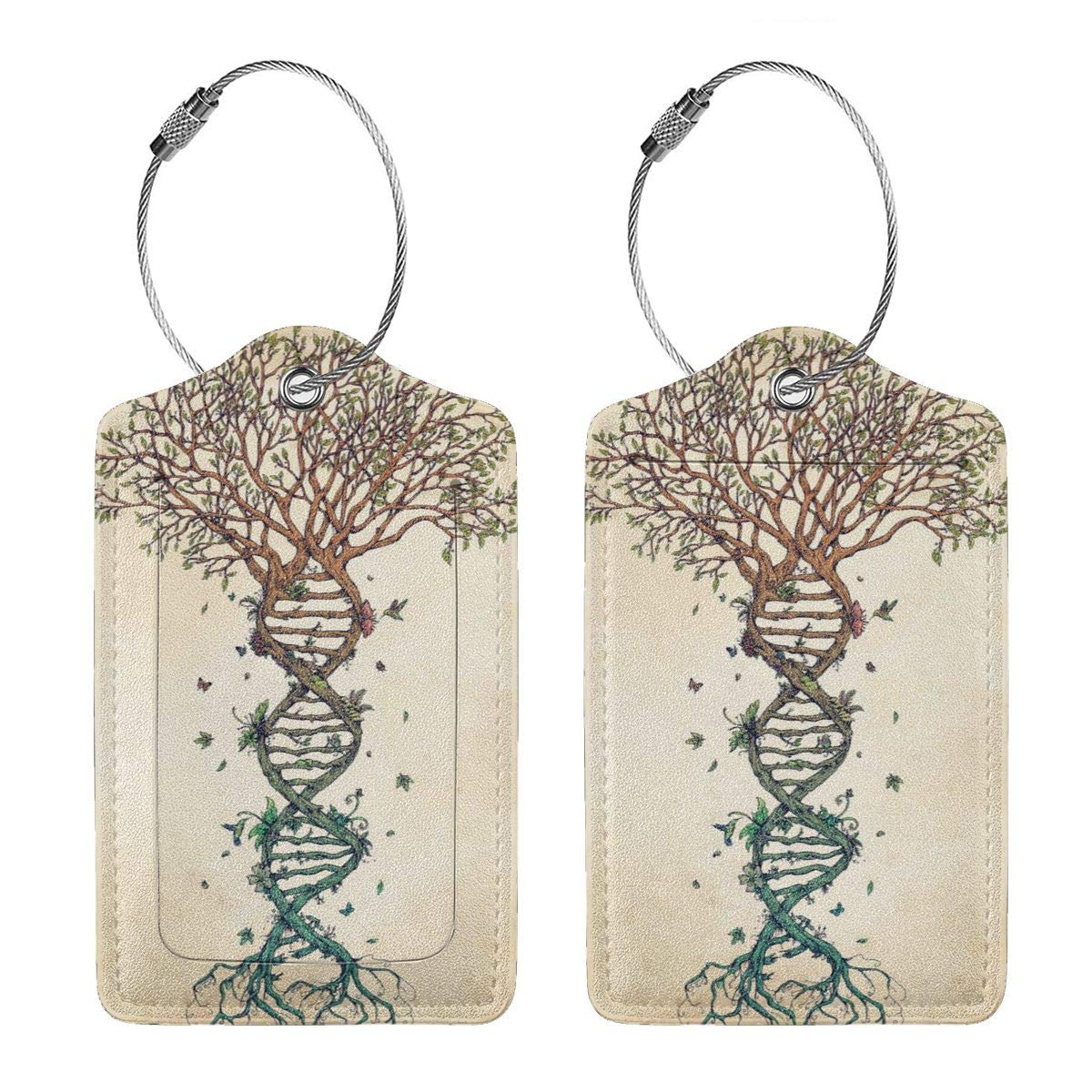DNA Tree of Life 2.7 x 4.6 Blank Tag Key Tags for Christmas Birthday Couples Gift Leather Luggage Tags Full Privacy Cover and Stainless Steel Loop 1 2 4 Pcs Set