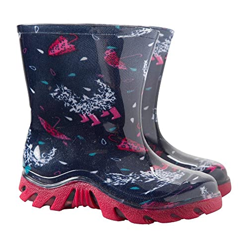 Mountain Warehouse Splash Junior Wellies - Easy Clean & Waterproof with a Soft Fabric Lining & Longer Length for Puddle Jumping - Ideal for The Park & Rainy Weather