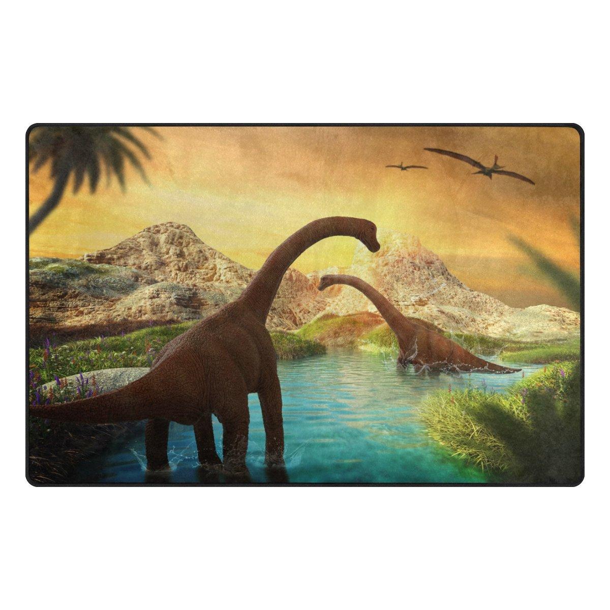 WOZO African Dinosaur Bird Palm Tree Area Rug Rugs Non-Slip Floor Mat Doormats Living Room Bedroom 31 x 20 inches g3329485p146c161s240