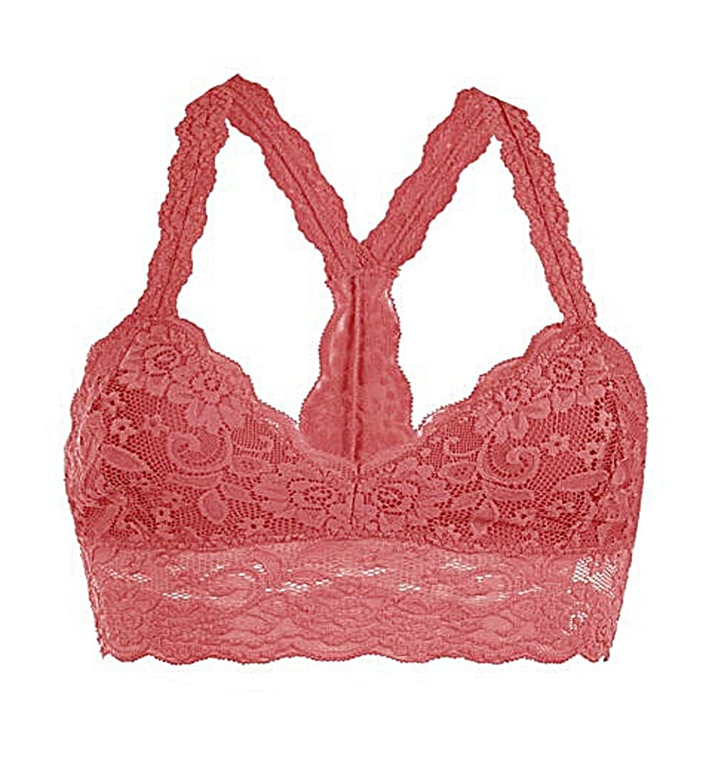 Floral Lace Racerback Unpadded Bralette Top Sheer Bustier Crop Wireless  Lingerie Bra (X-Large