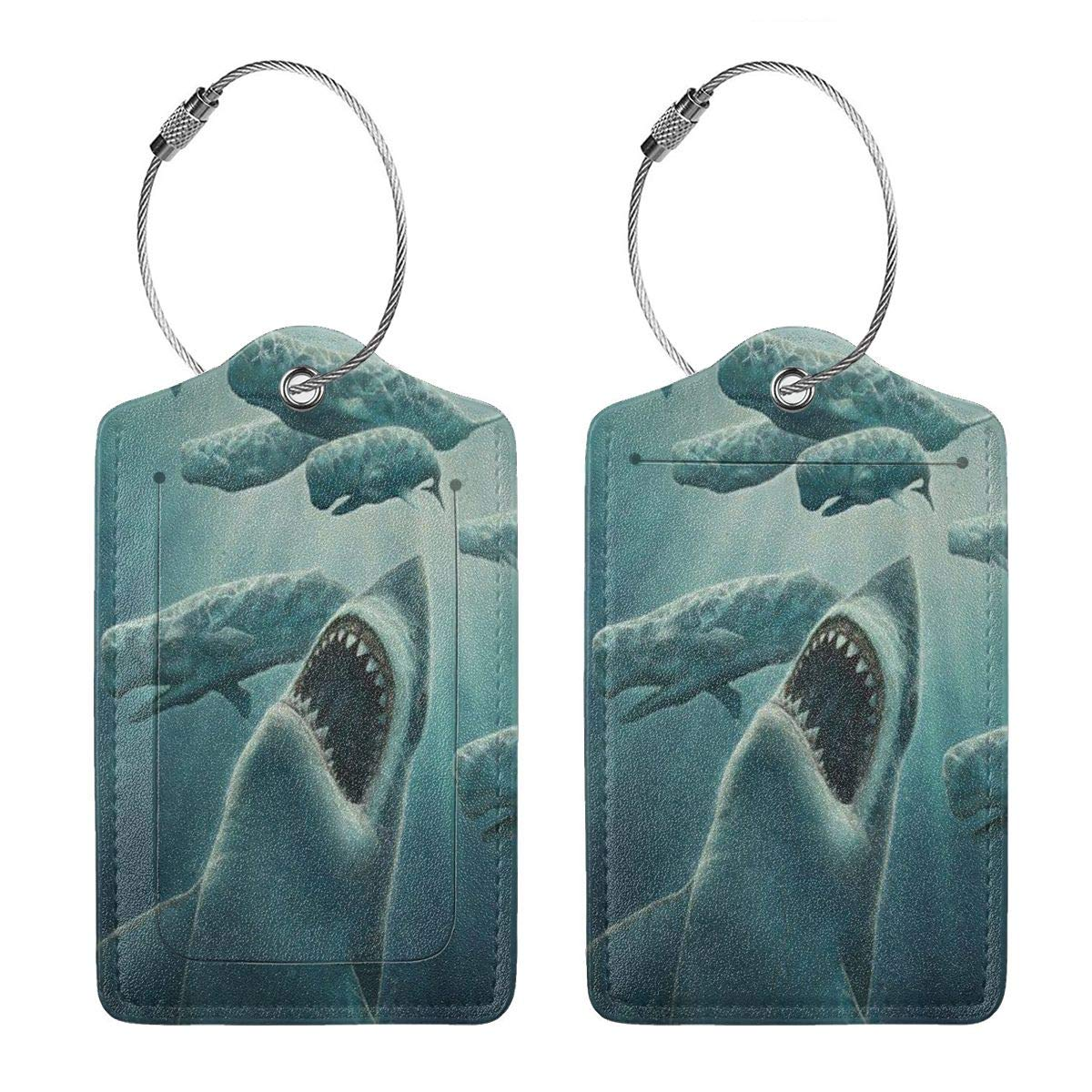 GoldK Beast Animal Shark Jaws Leather Luggage Tags Baggage Bag Instrument Tag Travel Labels Accessories with Privacy Cover