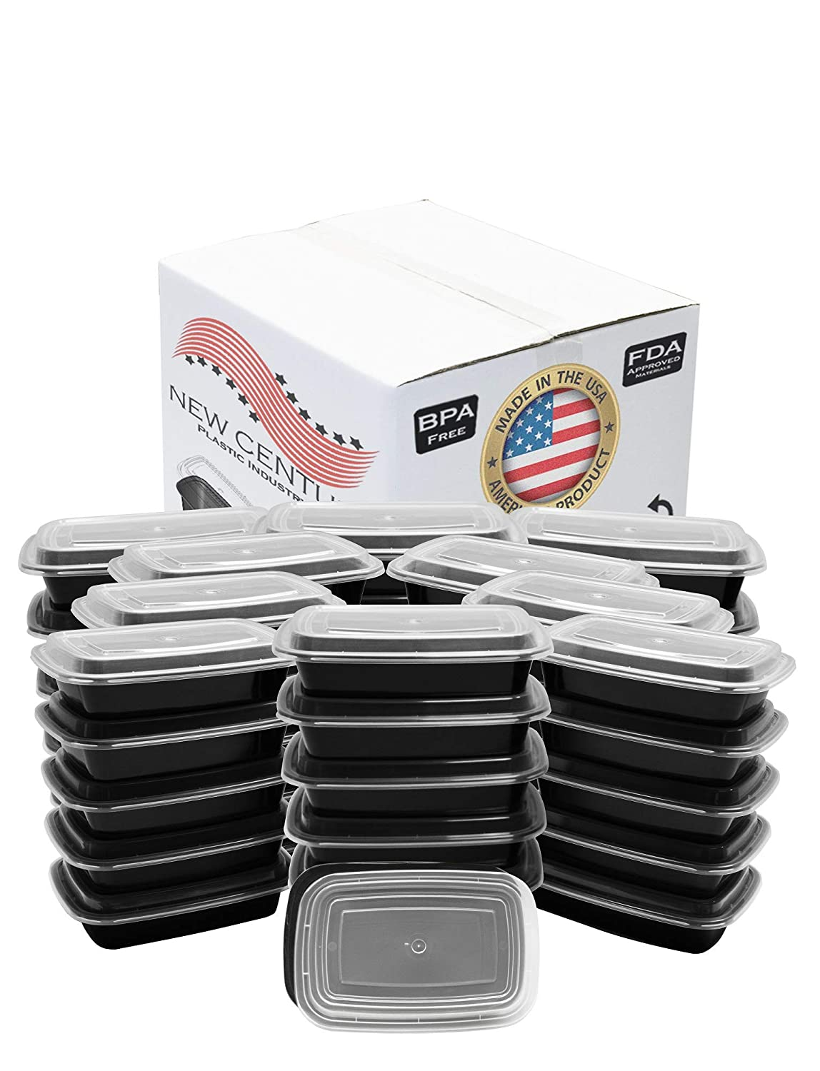 50-Pack [32 oz] 1-Compartment Food Container - Rectangular Meal Prep Bento with Lid - Portable Lunch Box - Stackable - BPA Free - Freezer/Microwave/Dishwasher Safe - Reusable Storage - USA Made