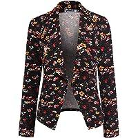 DOUBLJU Women's Long Sleeve Cardigan Lightweight Open Front Office Blazer with Plus Size
