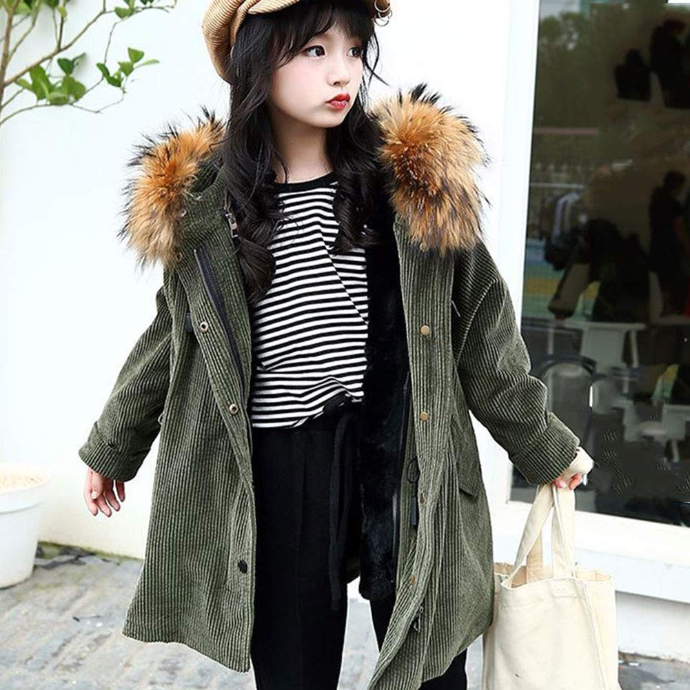 M/&A Girls Winter Thick Warm Faux Lamb Wool Lined Jacket Coat with Fur Hood