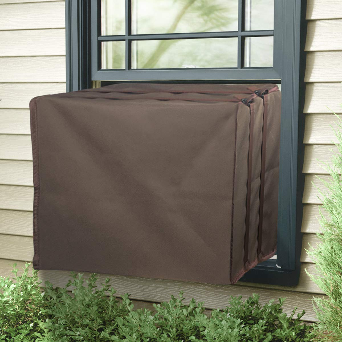 Air Jade Outdoor Cover for Window Air Conditioner A/C Unit Defender Winter Outside Covers Brown (21''W x 15''H x 16''D)