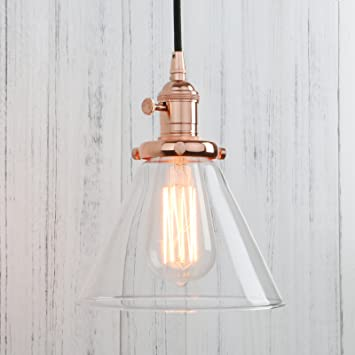 Permo Industrial Vintage Pendant Light With Funnel Flared Glass Clear Glass  Shade 1 Light Ceiling Fixture (Rose Gold)     Amazon.com