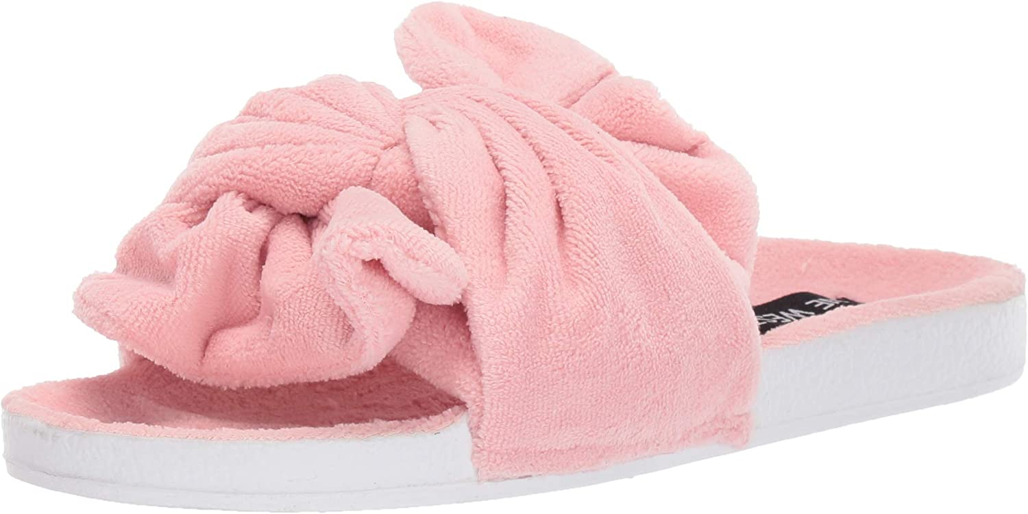 Dearfoams Women's Terry Oversized Tie Slide Slipper