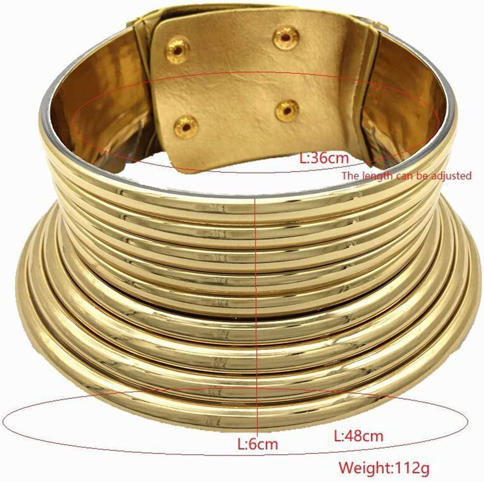 miqiqism African National Flamboyant Necklaces Adjustable Personality Creative Style Gold Silver Large Tie Choker Collars for Women Fashion Jewelry