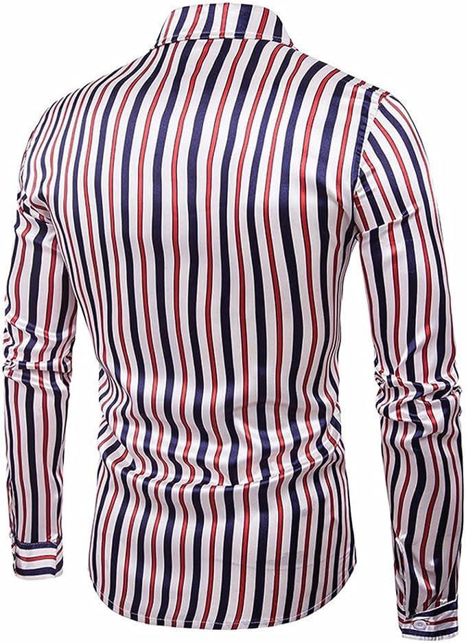 GK Hombre Camisa Moda Casual Camisa de Vestir Slim Fit Rayas ...
