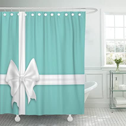 Amazon TOMPOP Shower Curtain White Bow Silk Ribbons Realistic