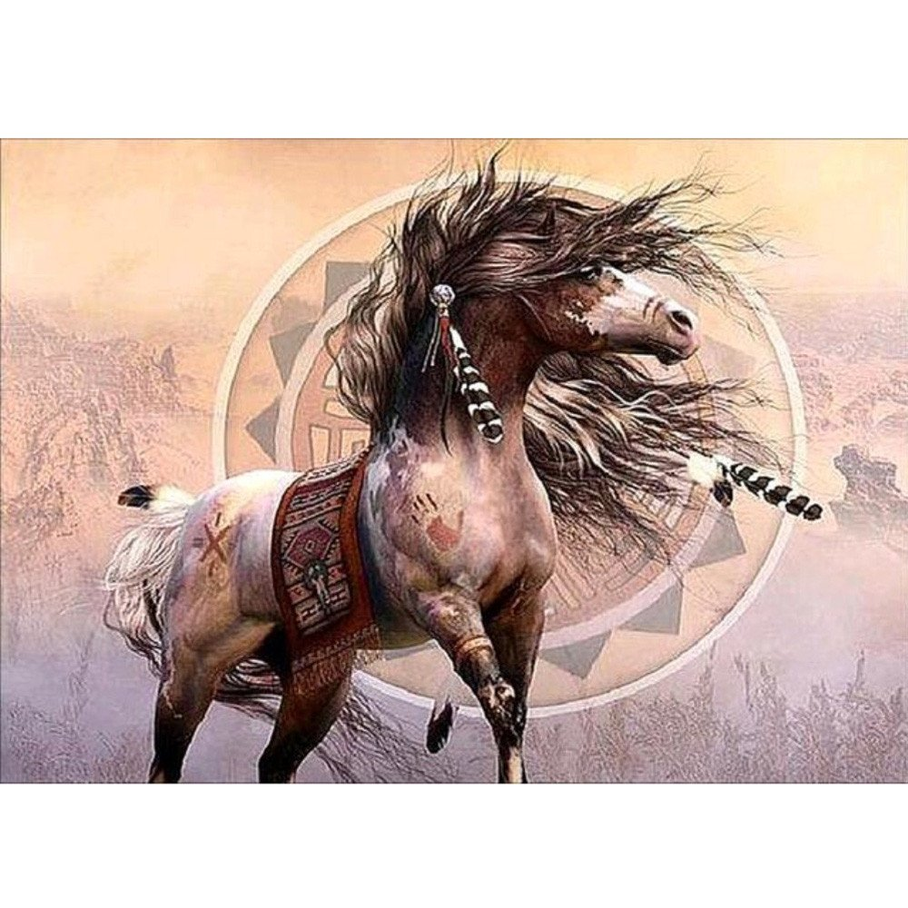 Amaping DIY 5D Diamond Painting by Number Kits Crystal Rhinestone Beads Pasted Embroidery Cross Stitch Kits Embellishment Arts Craft for Home Wall Hanging Decor (Horse)