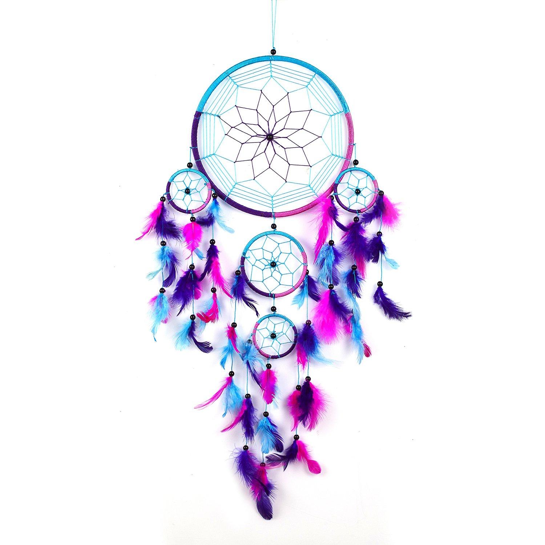 Pink Pineapple // Capteur de rêves Attrape Rêves À la Main Traditionnel Aqua Bleu, Rose, Violet 22 Centimètres Diamètre 60 Centimètres Long