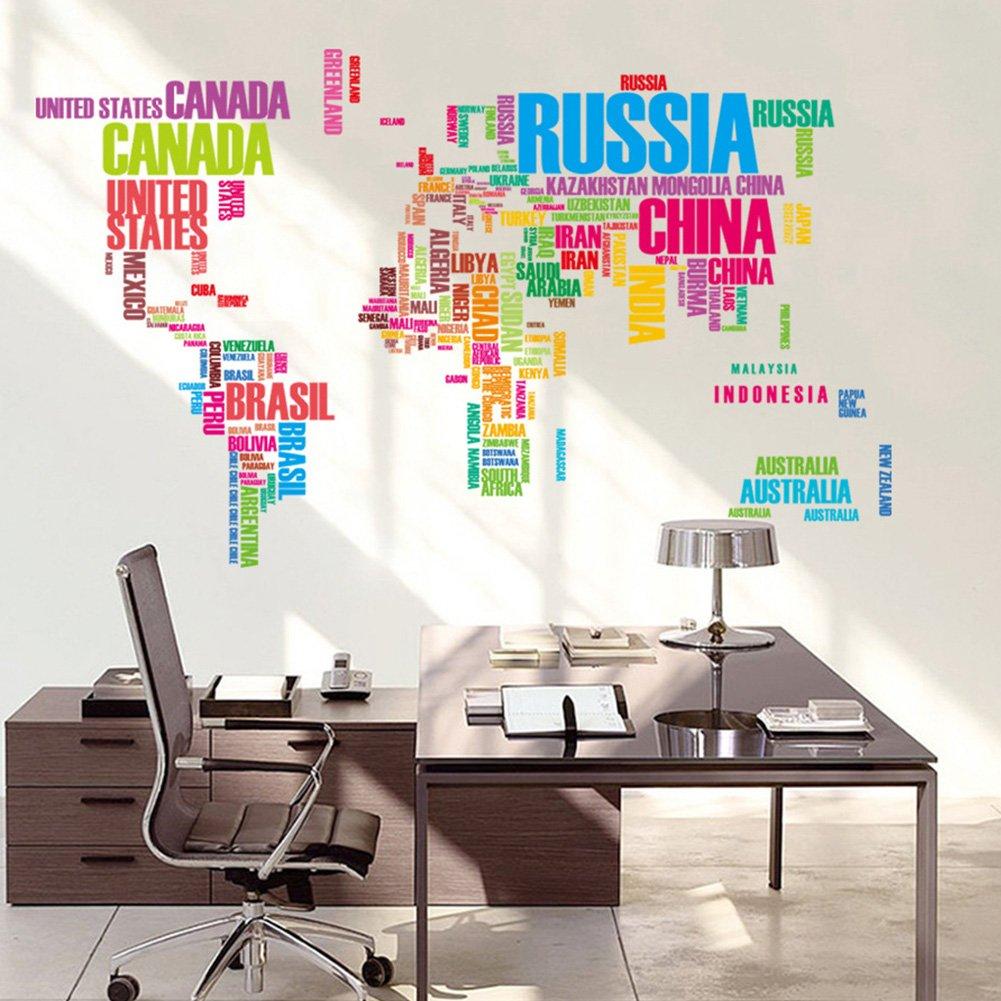 Zantec Palabras en Ingl/és World Map Classroom Home Wall Extra/íble Sticker PVC Art Decal Decor Poster