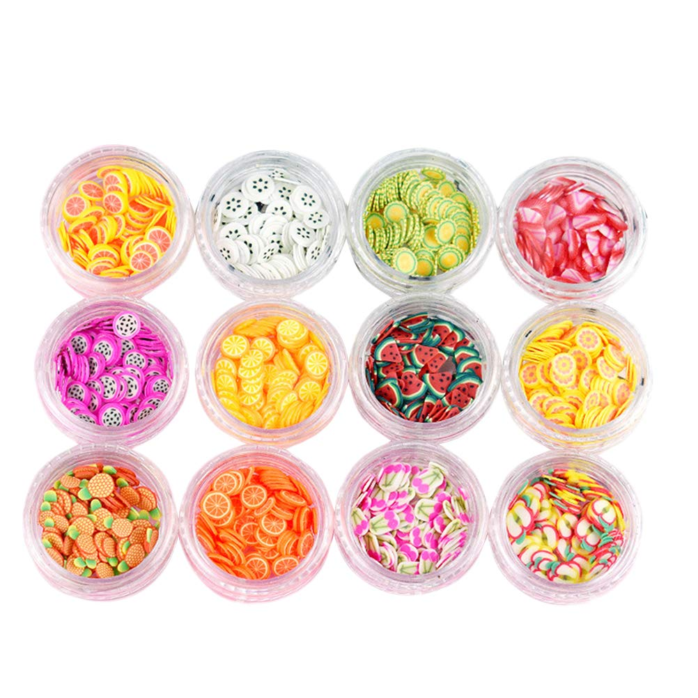 Fruit Pattern Nail Art Decor Slices Colorful DIY Nail Art Decoration 12 Boxes (Random Color)