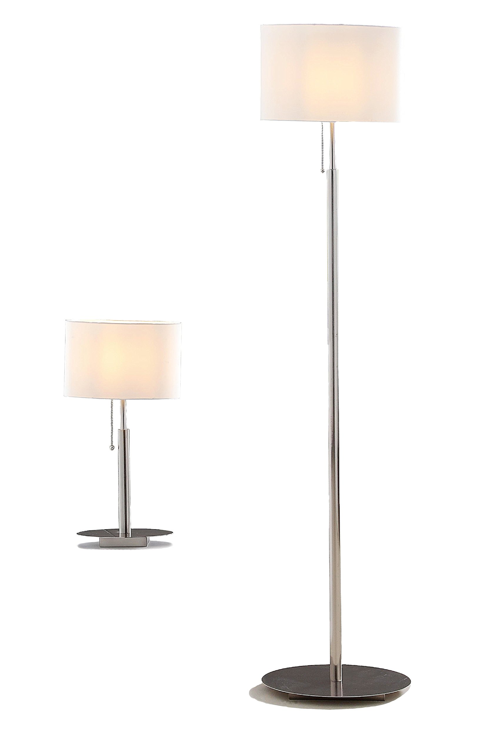 Artiva USA A4031017MXW Modern, Contemporary European ''AUDREY'' Slim Oval Design Brushed Steel Table and Floor Lamp Set, 64''/21''/25'', Brushed Steel