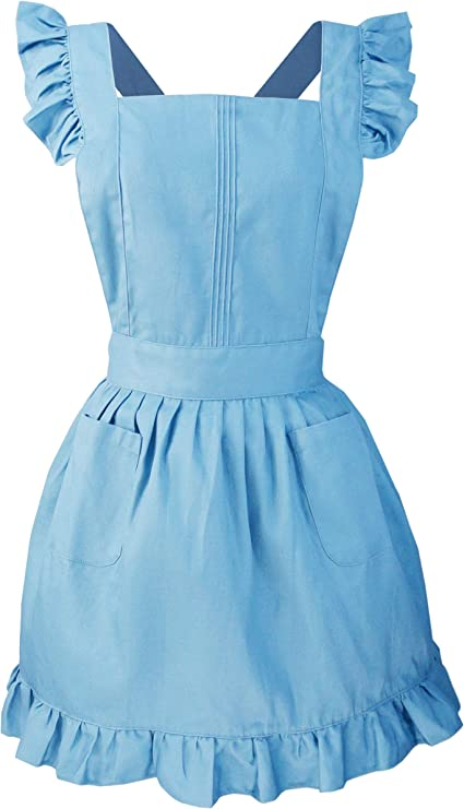 Cotton Lime Green LilMents Retro Adjustable Ruffle Apron with Pockets Small to Plus Size Ladies