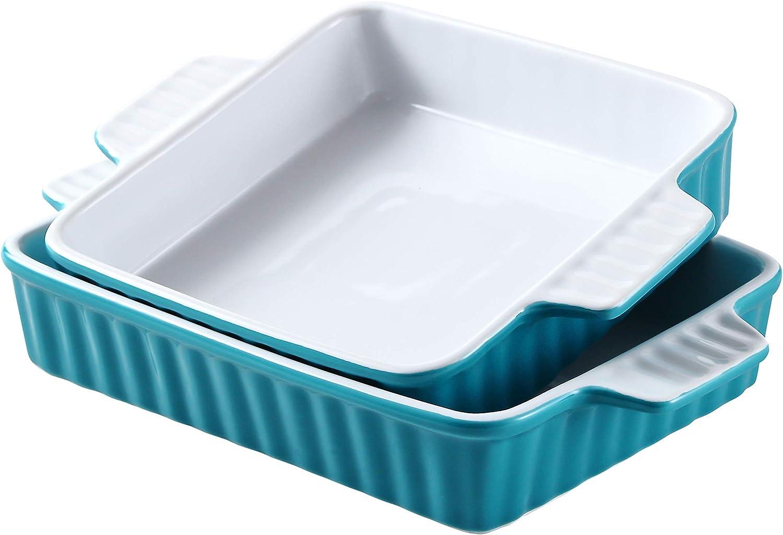 Bruntmor Set Of 2 Rectangular Bakeware Set Ceramic Baking Pan Lasagna Pans for Baking, large 12.4 x 7.4 small 10.4 x 8, Teal/white