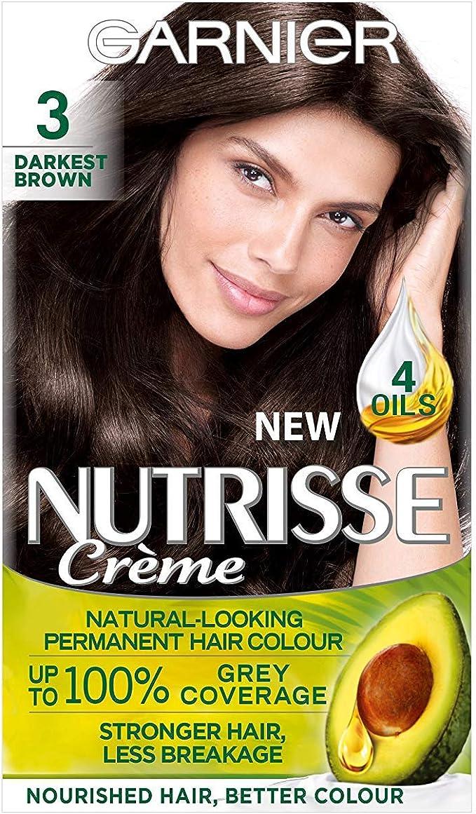 Garnier Nutrisse 3 - Tinte para el cabello permanente, Darkest ...