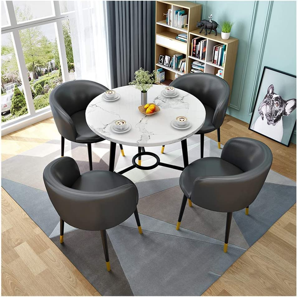 Amazon.com   ZCXBHD Round Dining Table and Leather Chairs Set ...
