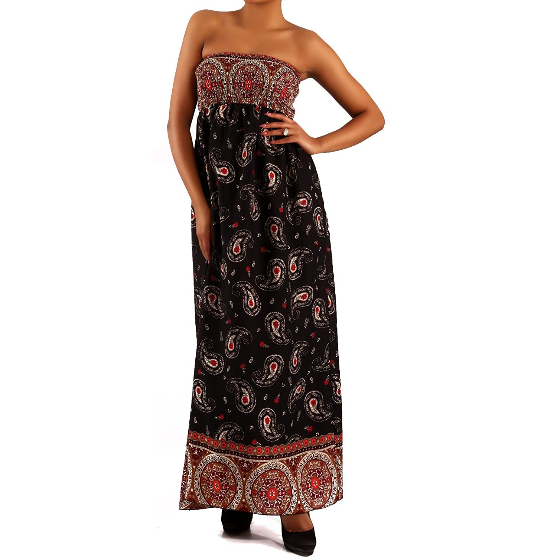 Young-Fashion Damen Maxikleid Hippie Bandeau Long Dress Strandkleid Trägerlos Langes Kleid für Frühling und Sommer Jumper aus aus 100% Viscose Jumper Freizeit-Kleid mit Allover-Druck