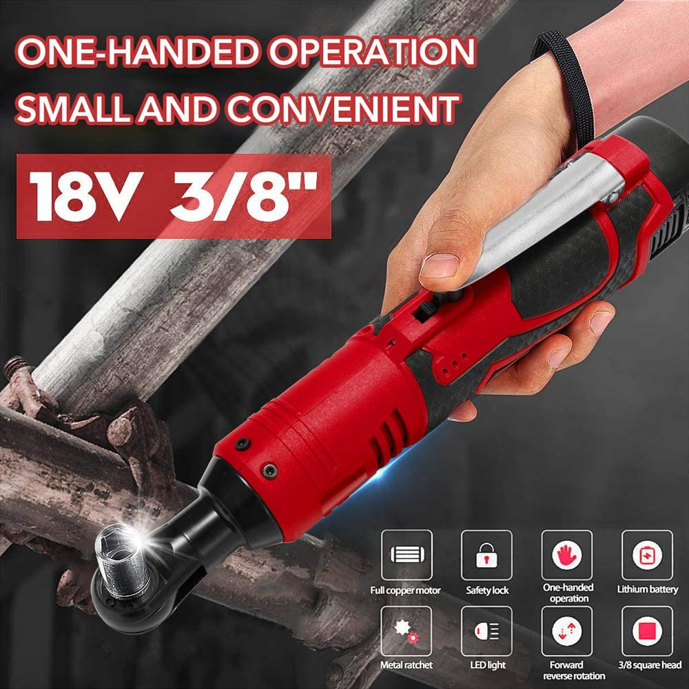 18V Multifunctional Cordless Rechargeable Electric Wrench 3//8 Inch Right Angle Electric Ratchet Wrenches with LED Light